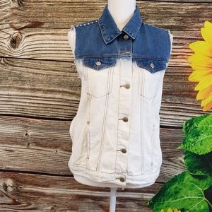 Forever 21 jean two tone vest